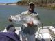 SPORTFISHWORLD FISHING PHOTO   AUSTRALIA   FISH SPECIES   Barramundi    Leith Larham sent in this great pic of a 111cm Barramundi.   SportfishWorld © 2003 Bob Fisher