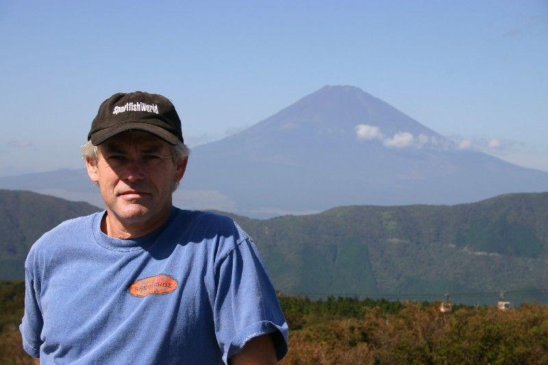 WORLDWIDE SPORTFISHING PHOTOS, Japan,  Australian Panorama, SportfishWorld's roving correspondent Bob Fisher with Mt Fuji in the background ~ on the way to Lake Ashinoko near Hakone in Japan...