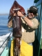 SPORTFISHWORLD FISHING PHOTO   USA   FISH SPECIES Giant Humboldt Squid    SportfishWorld's Bob Fisher and fishing buddy Rich Pharo went on a charter trip aboard Capt. Rick Power's New Sea Angler out of Bodega Bay in Northern California (February 2006). This is one of many Giant Humboldt Squid in the 30-40lbs plus range that were caught jigging at the Cordell Banks that day. Photograph by Rich Pharo.   SportfishWorld © 2003 Bob Fisher