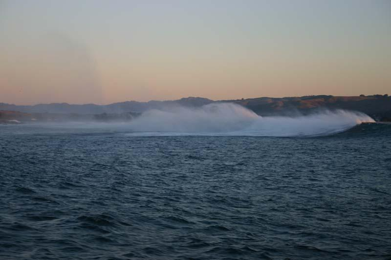 Fishing for Giant Humboldt Squid - Cordell Bank, Squid Fishing Photos,  Australian Panorama, Leaving Bodega Bay early in the morning on the Giant Humboldt Squid Trip. Nice break, offshore breeze. Bodega Bay 2006 photo - Bob Fisher.