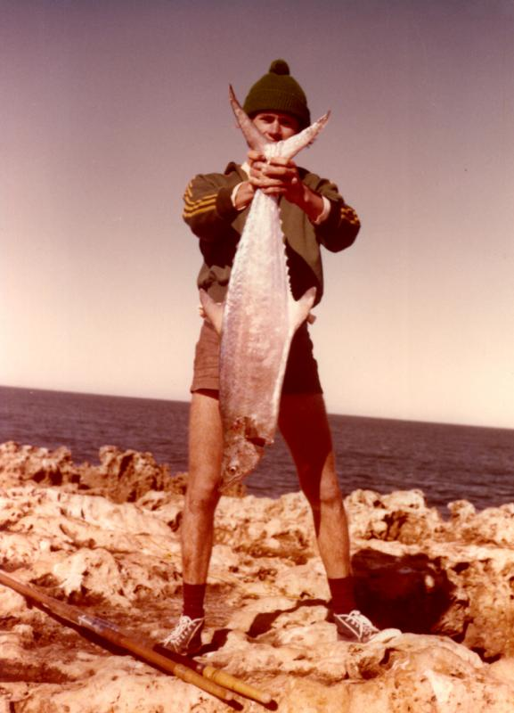 FISHING CAPE CUVIER IN THE SEVENTIES, Fishing Photos, Broad-Bar Spanish Mackeral, Bob Fisher with a Broad-Bar Spanish Mackeral caught spinning from High Rock at Cape Cuvier in Western Australia. Classic 1970's ABU 9000C and a 10' 8 wrap custom built Butterworth Multi-Taper rod!