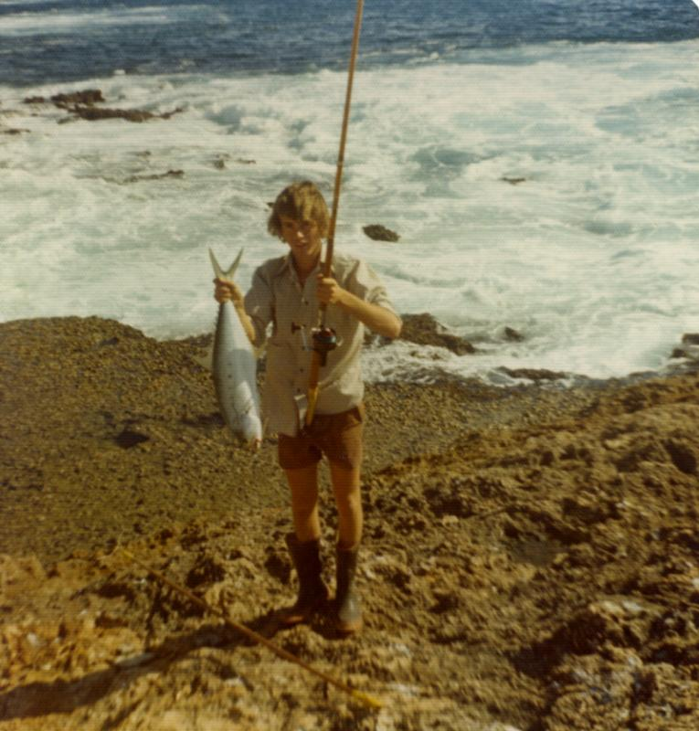 FISHING CAPE CUVIER IN THE SEVENTIES, Fishing Photos,   Queenfish, A young Bob with a Queenie at Camp Rock 1970's... Kim Booth Photo.