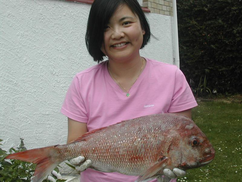 WORLDWIDE SPORTFISHING PHOTOS, New Zealand,  Red Snapper, Fishing Kawakawa Bay in Auckland, North Island, New Zealand. Amy with a Red Snapper. Photos submitted by John To.