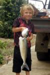 FISHING IN ESPERANCE Fishing Photos  Australian Salmon Young AJ with an Australian Salmon. Proudly submitted by Russell (Gramps) Stone aka 'Rusty', Esperance, Western Australia. Bob Fisher's SportfishWorld &copy