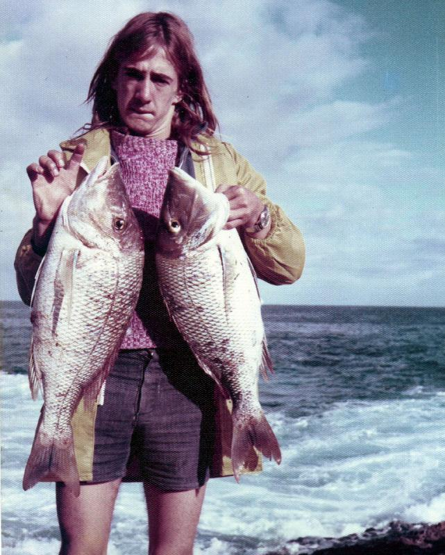 FISHING CAPE CUVIER IN THE SEVENTIES, Fishing Photos,  Spangled Emporer, Des Kosick, Marko's younger brother with a brace of Spangled Emporer caught at Cape Cuvier in 1975
