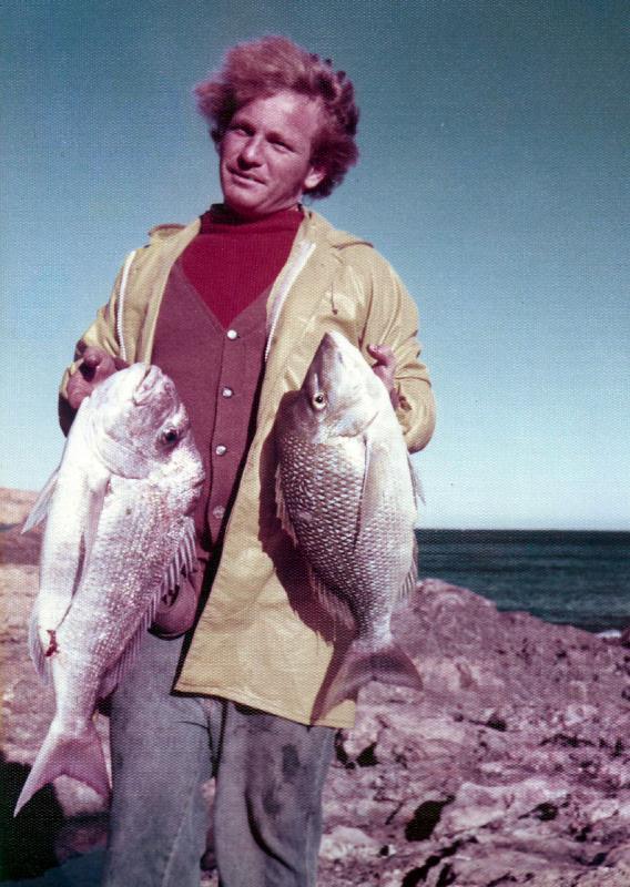 FISHING CAPE CUVIER IN THE SEVENTIES, Fishing Photos,  Mixed Bag, Neville Lymn with a Pink Snapper and a Spangled Emporer caught at Cape Cuvier in 1975