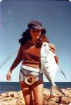 FISHING CAPE CUVIER IN THE SEVENTIES Fishing Photos Swallow Tail Dart Kim Booth with a Swallow Tail Dart at High Rock, near Cape Cuvier Western Australia in the 1970's. Bob Fisher Photo.  Bob Fisher's SportfishWorld &copy