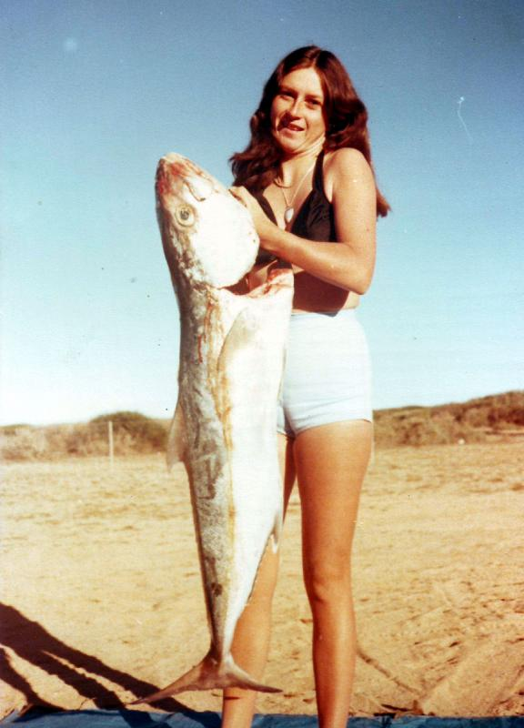FISHING CAPE CUVIER IN THE SEVENTIES, Fishing Photos,   Samsonfish, Kim Booth back at Quobba station in the morning with one of two Samsons caught at Camp Rock near Cape Cuvier the previous night. This was a trip with Bob, Kim, Russell and Sue back in the 1970's. That night we got two Samsons, a Barracuda, a number of Spangled Emporer and some major bust offs from monster Groper... Bob Fisher Photo