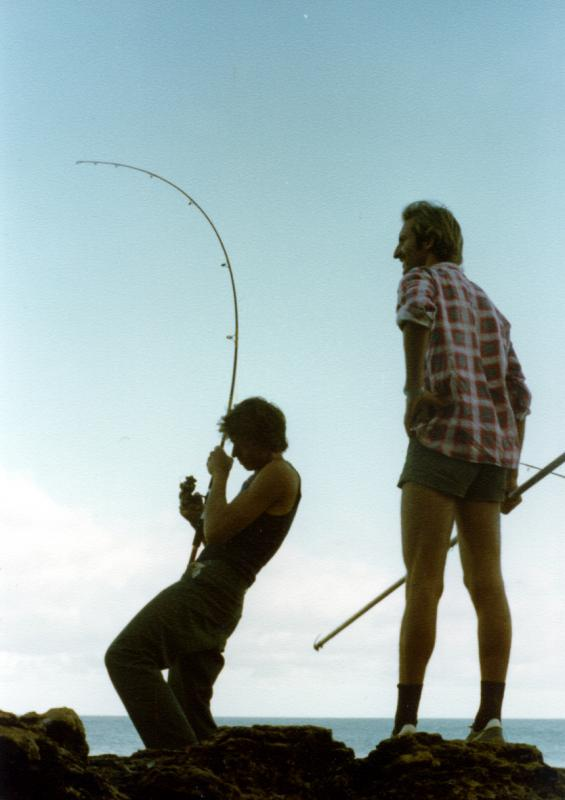 FISHING CAPE CUVIER IN THE EIGHTIES, Fishing Photos,  Action Photo, Lindsay fighting a Shark Mackeral on light tackle off Garth's Rock while Joe looks on with the gaff. Bob Fisher Photo...