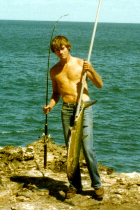 FISHING CAPE CUVIER IN THE EIGHTIES, Fishing Photos,  Shark Mackeral, Bob with a Shark Mackeral that Lindsay gaffed. Garth's Rock, Cape Cuvier, Western Australia.