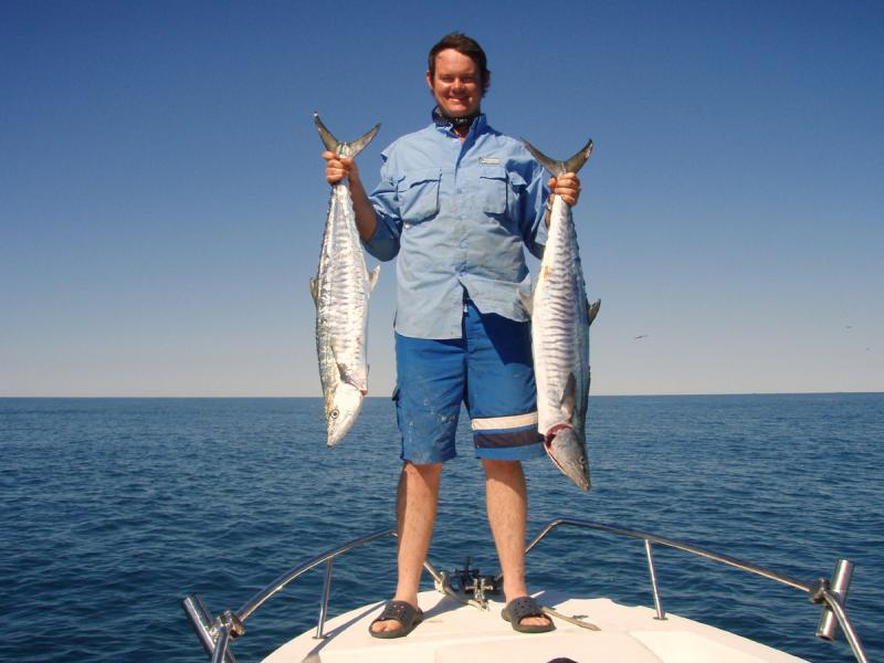 Mackeral, Spanish - Spanish Mackeral. Two of the keepers caught trolling lures. Robbie Dickson (Karratha/Dampier) -SportfishWorld &copy Copyright 2003 All rights reserved